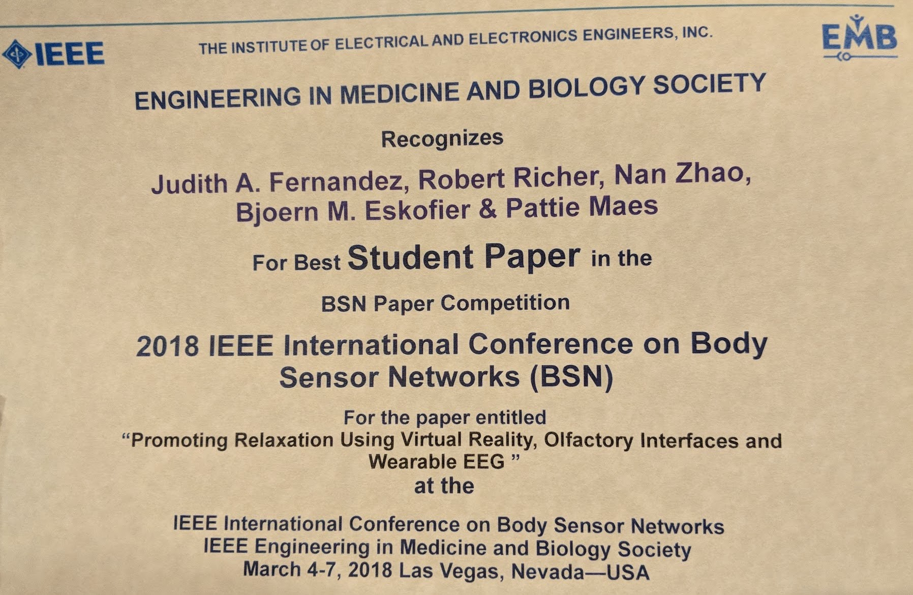 "Towards entry ""Best Student Paper Award BSN 2018"""
