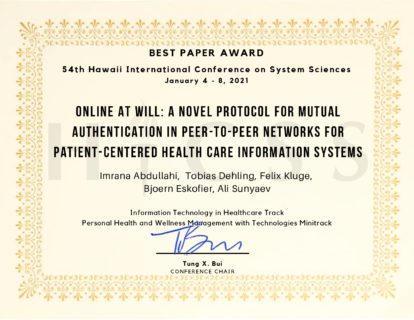 "Towards entry ""Best paper award at the HICSS-54 2021 conference for Imrana Abdullahi Yari"""